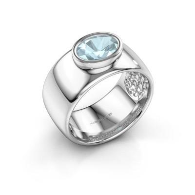 Ring Anouschka 925 zilver aquamarijn 8x6 mm
