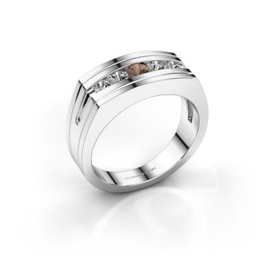 Foto van Heren ring Huub 950 platina bruine diamant 0.56 crt
