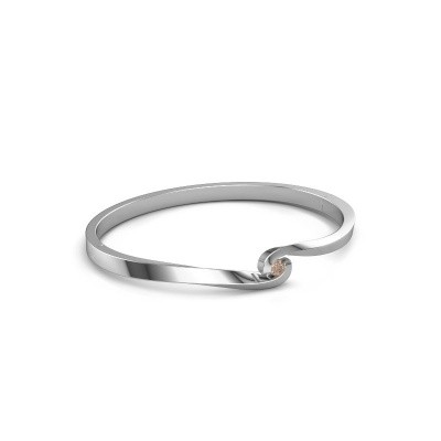 Bracelet jonc Sheryl 585 or blanc diamant brun 0.20 crt