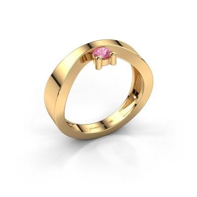 Verlovingsring Elisabeth 585 goud roze saffier 3.4 mm