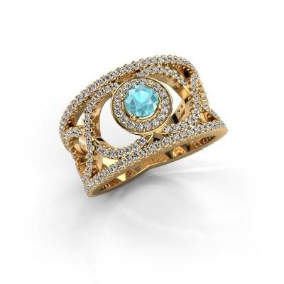 Foto van Ring Regina 375 goud blauw topaas 4.2 mm