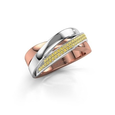 Foto van Ring Katherina 585 rosé goud gele saffier 1 mm