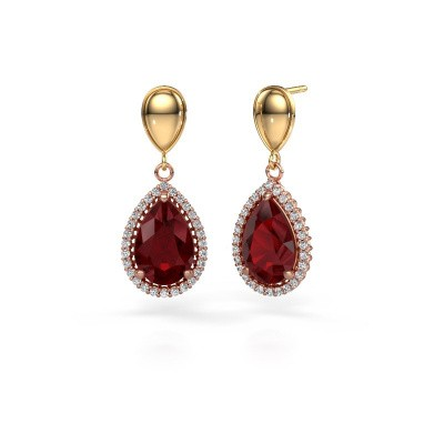 Drop earrings Cheree 1 585 rose gold ruby 12x8 mm