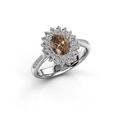Aanzoeksring Alina 2 585 witgoud bruine diamant 0.80 crt