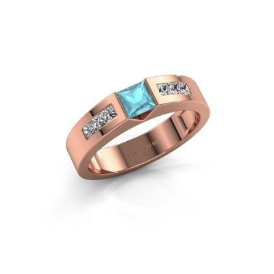 Foto van Verlovings ring Arlena 2 375 rosé goud blauw topaas 4 mm