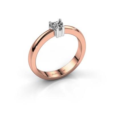 Foto van Aanzoeksring Florentina heart 585 rosé goud diamant 0.25 crt