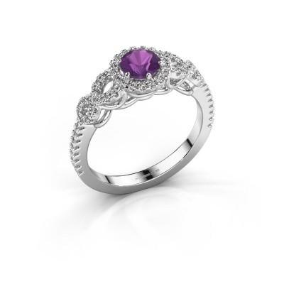 Engagement ring Sasja 950 platinum amethyst 5 mm