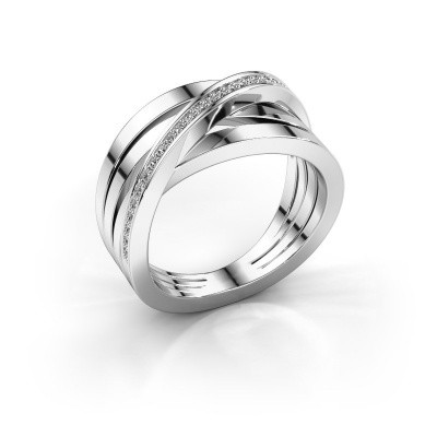 Ring Esmee 585 witgoud zirkonia 1 mm