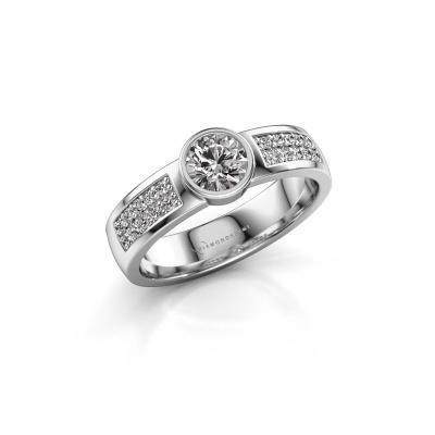 Engagement ring Ise 3 950 platinum zirconia 4.7 mm