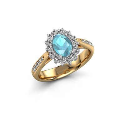 Engagement ring Margien 2 585 gold blue topaz 7x5 mm