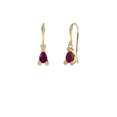 Drop earrings Bunny 2 585 gold rhodolite 7x5 mm