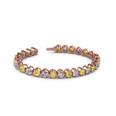 Foto van Tennisarmband Mandi 375 rosé goud gele saffier 5 mm