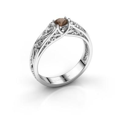 Foto van Ring Quinty 950 platina rookkwarts 4 mm
