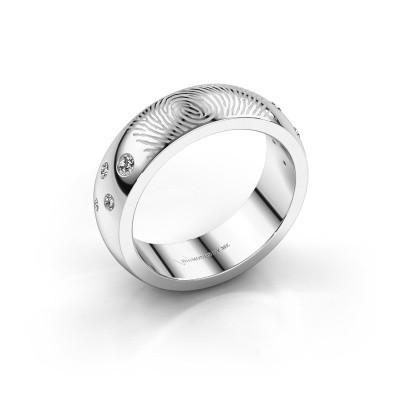 Foto van Ring Minke 950 platina zirkonia 2 mm