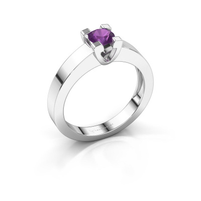 Promise ring Anne 1 585 witgoud amethist 4.7 mm
