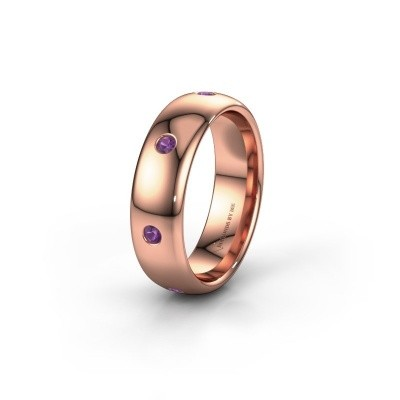 Wedding ring WH0105L36BP 375 rose gold amethyst ±0.24x0.08 in