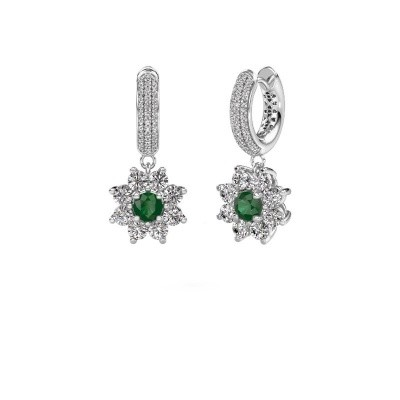 Oorhangers Geneva 2 585 witgoud smaragd 4.5 mm