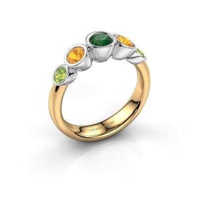 Ring Lizz 585 goud smaragd 4 mm