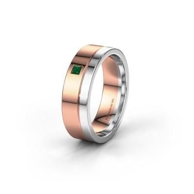 Trouwring WH0301L16APSQ 585 rosé goud smaragd ±6x1.7 mm