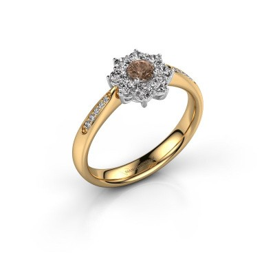 Verlovingsring Carolyn 2 585 goud bruine diamant 0.15 crt