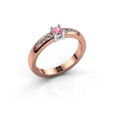 Verlovingsring Zohra 585 rosé goud roze saffier 3 mm