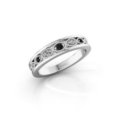 Stackable ring Laine 925 silver black diamond 0.139 crt