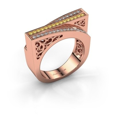 Ring Magda 375 rose gold yellow sapphire 1.2 mm