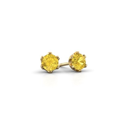 Foto van Oorstekers Fran 375 goud gele saffier 4.7 mm