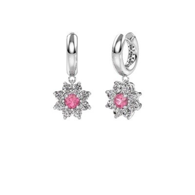 Drop earrings Geneva 1 950 platinum pink sapphire 4.5 mm