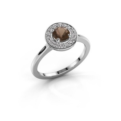 Ring Agaat 1 585 white gold smokey quartz 5 mm