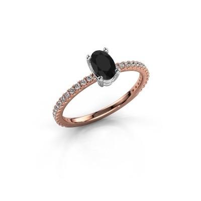 Foto van Verlovingsring Lynelle 2 585 rosé goud zwarte diamant 0.60 crt