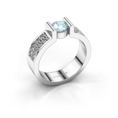 Verlovingsring Isabel 3 925 zilver aquamarijn 5 mm