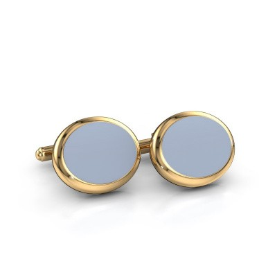 Cufflinks Mario 585 gold light blue sardonyx 15x12 mm