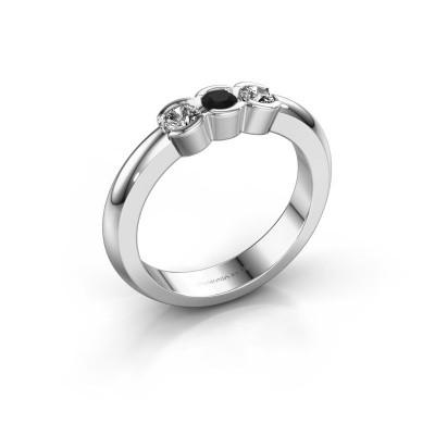 Foto van Verlovingsring Lotte 3 585 witgoud zwarte diamant 0.32 crt