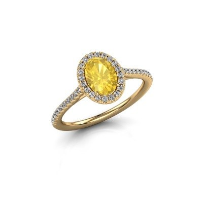 Engagement ring Seline 2 375 gold yellow sapphire 7x5 mm