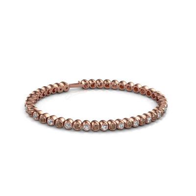Foto van Tennisarmband Bianca 3 mm 375 rosé goud bruine diamant 4.40 crt