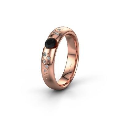 Trouwring WH2104L34A 375 rosé goud zwarte diamant ±4x1.7 mm
