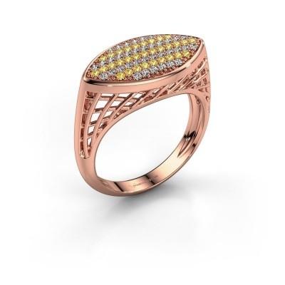 Foto van Ring Mireille 375 rosé goud gele saffier 1.1 mm