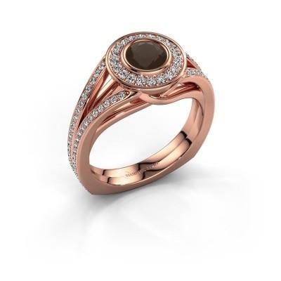 Foto van Ring Kellee 375 rosé goud rookkwarts 5 mm