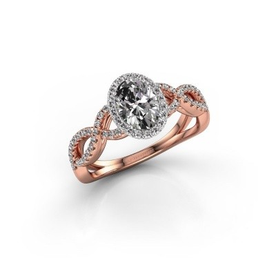 Engagement ring Dionne ovl 585 rose gold zirconia 7x5 mm