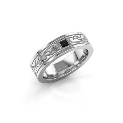 Heren ring Matijs 585 witgoud zwarte diamant 0.204 crt