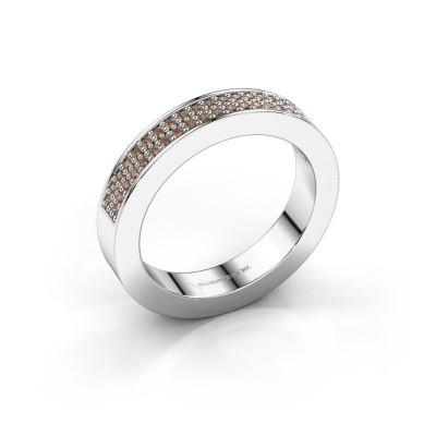 Stackable ring Catharina 2 950 platinum brown diamond 0.295 crt