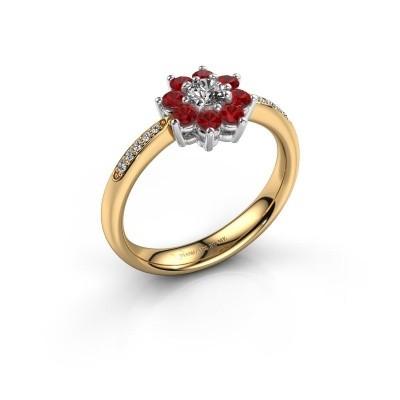 Verlovingsring Camille 2 585 goud robijn 3.4 mm