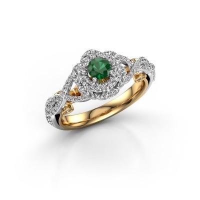 Foto van Verlovingsring Cathryn 585 goud smaragd 4 mm