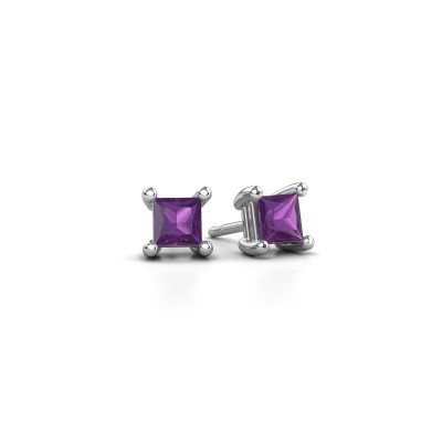 Picture of Stud earrings Sam square 925 silver amethyst 4 mm