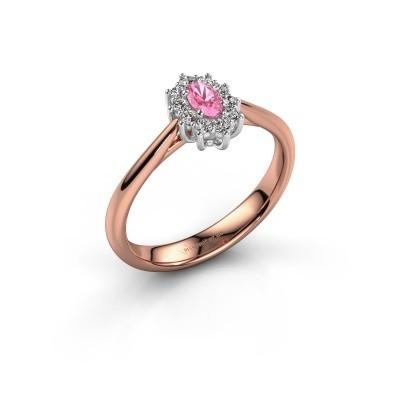 Foto van Verlovingsring Leesa 1 585 rosé goud roze saffier 6x4 mm