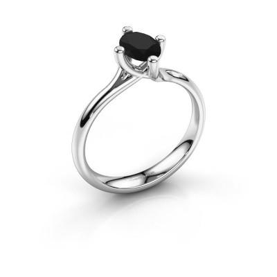 Verlobungsring Dewi Oval 925 Silber Schwarz Diamant 1.05 crt
