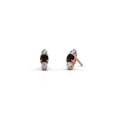 Foto van Oorbellen Amie 375 rosé goud zwarte diamant 1.00 crt
