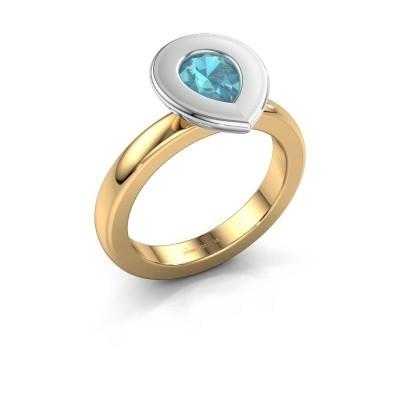 Stapelring Eloise Pear 585 goud blauw topaas 7x5 mm