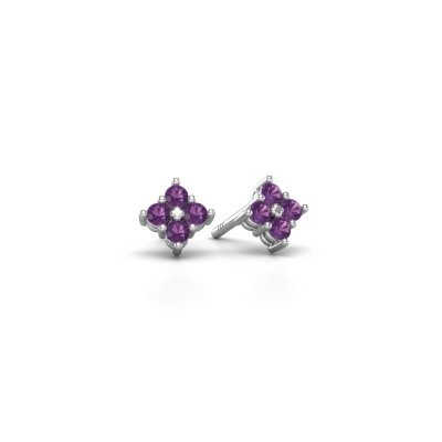 Picture of Stud earrings Maryetta 925 silver amethyst 2 mm